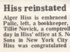 Alger Hiss reinstated news clipping
