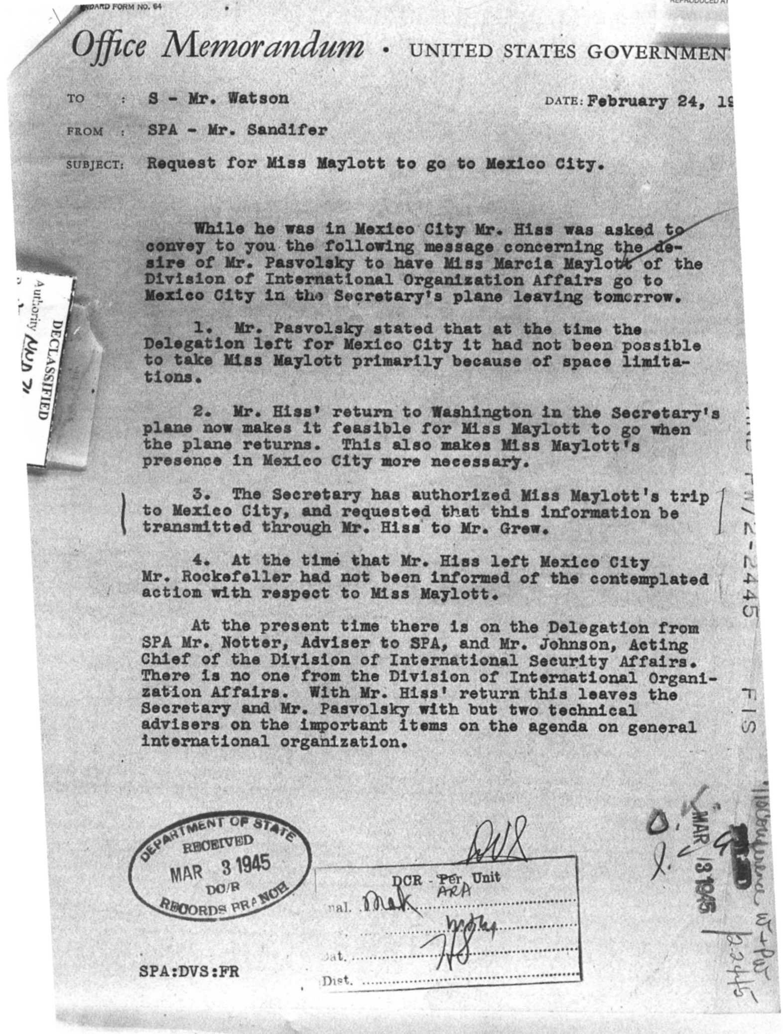 Memo re. Alger Hiss (larger)